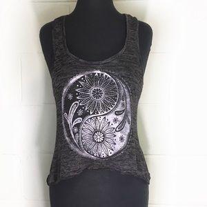 Stranded Flowered Yin Yang Symbol Tank Top